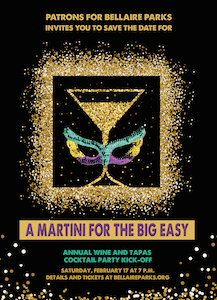 You are invited to PATRONS for Bellaire Parks Annual Martini Party, February 17.