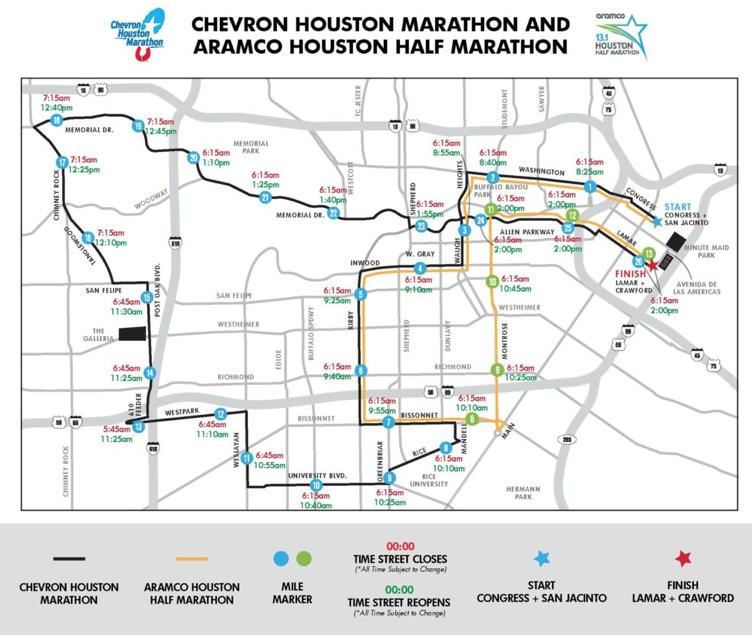 Street closures during the Houston Marathon on January 20.