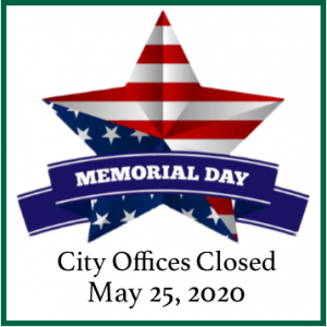 Bellaire City offices will be closed for the Memorial Day holiday, May 25.