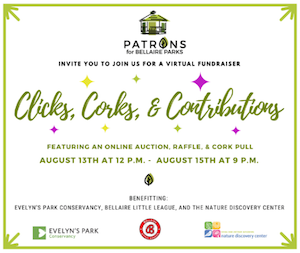 """Patrons for Bellaire Parks """"Clicks, Corks, & Contributions,"""" Virtual Gala"""