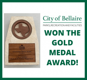 Bellaire Parks, Recreation and Facilities Department was honored with the prestigious Gold Medal Award.