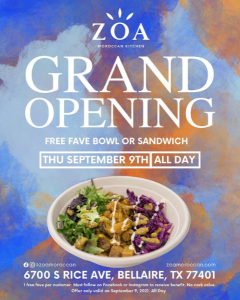 ZOA Moroccan Kitchen will open September 9 in Bellaire.