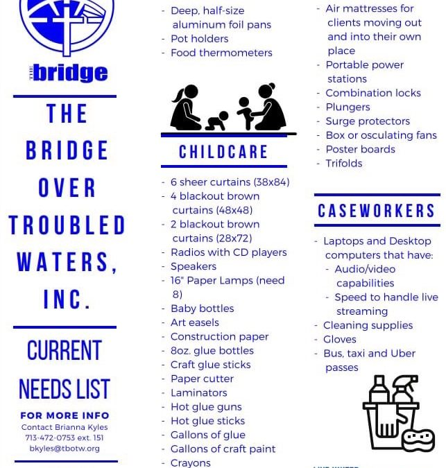 Bellaire Police partner, The Bridge over Troubled Waters, needs the community's help.