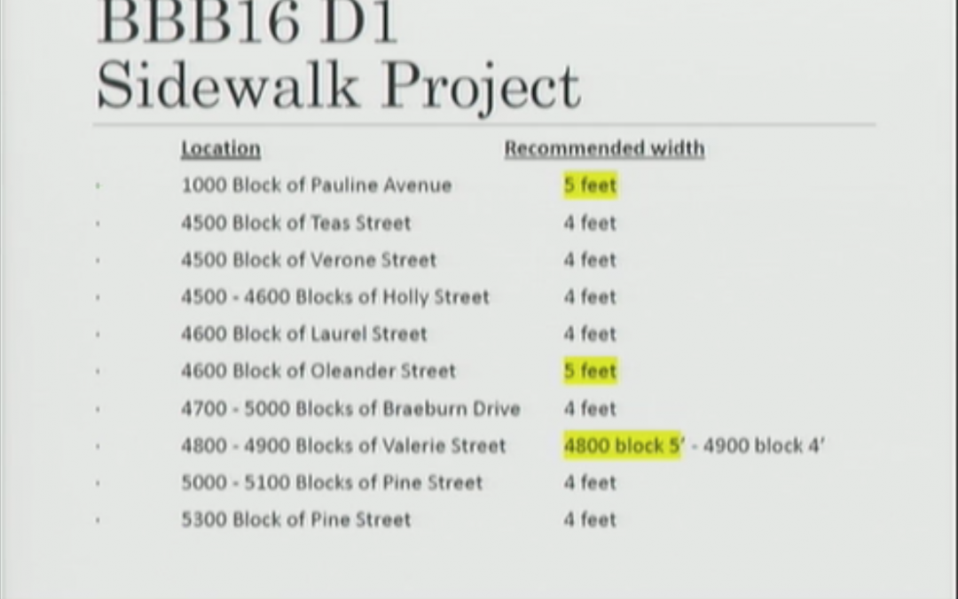 Bellaire City Council votes to award contract for Group D Phase 1 sidewalks, with amendment.