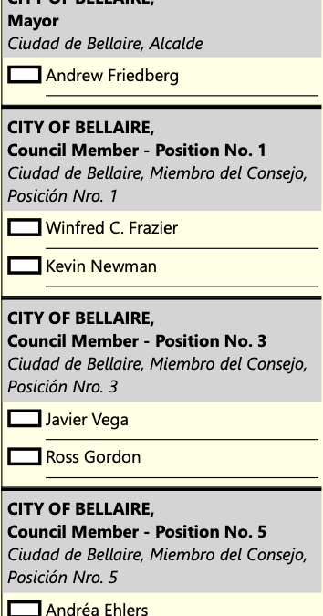 Early voting begins today, October 18, for Bellaire's City Council election.