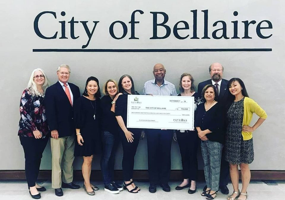 Patrons for Bellaire Parks donates $110,000 to City for new playground equipment.