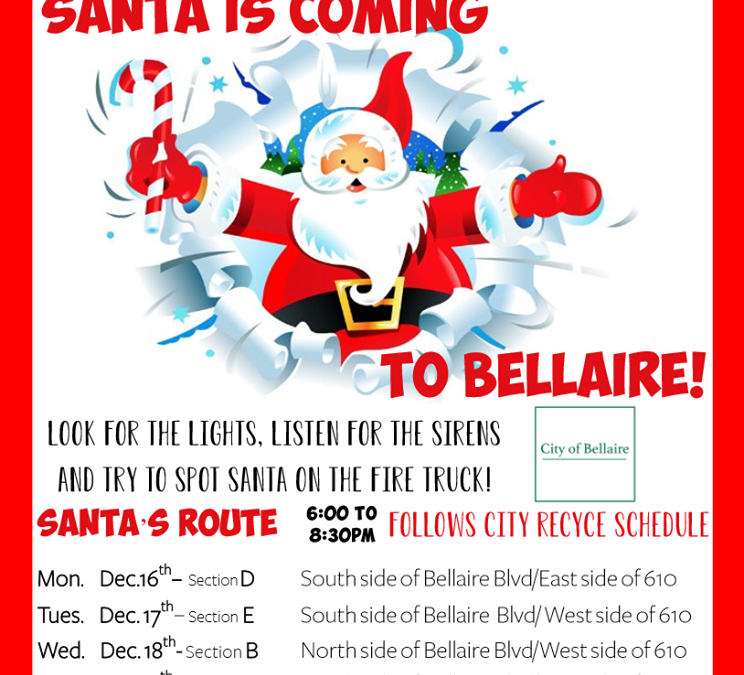 Santa will be visiting Bellaire mid December.