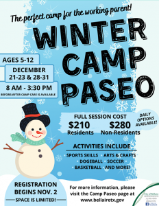 winter camp paseo